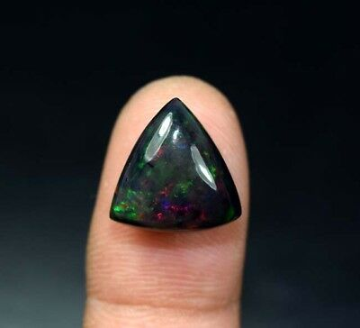 6.80 Cts. 100 % Natural Multi Fire Ethiopian Black Opal Triangle Cab Loose Gems