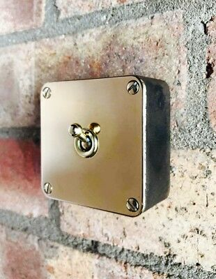 Vintage Industrial Crabtree 1 Gang Cast Iron Light Switch Restored Brass Toggles