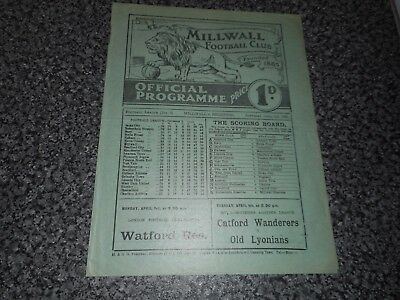MILLWALL  v  BRADFORD PARK AVENUE  1932/3 ~ APRIL 1st   ***MEGA RARE  PRE-WAR***
