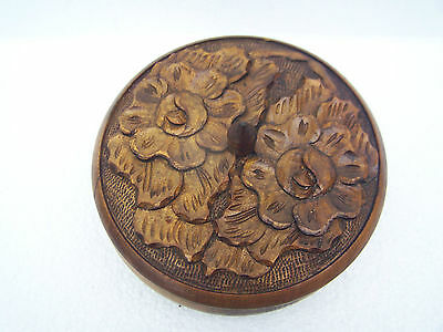 antique carved round wooden box 7 inch diameter  2.5 inch tall with out knob