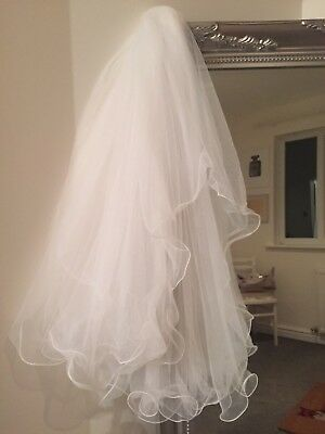 White/ Ivory Satin Edge Wedding Veil With Comb Two Layer Frills Long Length
