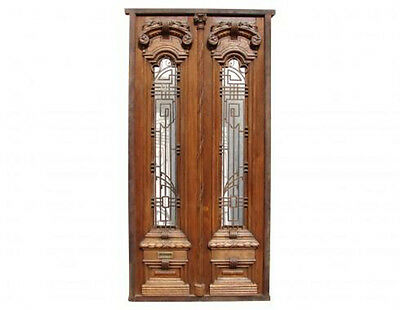 Antique Double Front Door, Wrought Iron Inserts #B1482