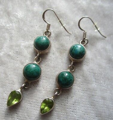 Vintage Handcrafted Sterling Earrings With Malachite and Peridot Stones