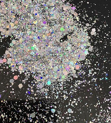 Silver Holographic Mixed Chunky Glitter for Nails - Face - Body - Make-up