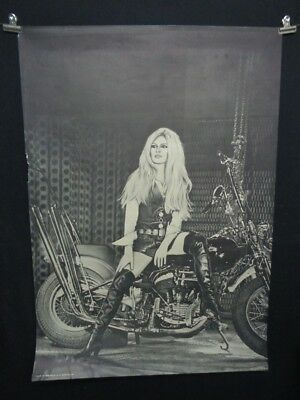 HUGE Vintage 1960s Brigitte BARDOT On Motrcycle POSTER 1967 Famous Faces NR!