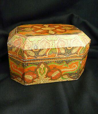 Antique 19th century Anglo-Indian Kashmir hand painted casket/ lidded box-  Rare