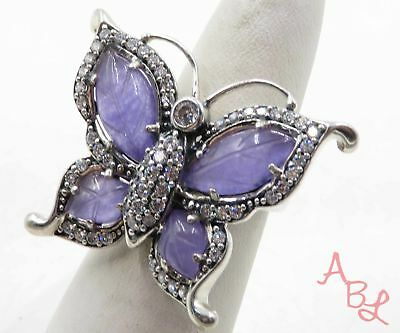 Sterling Silver 925 Butterfly Cocktail Purple Jade Ring Sz 6 (9.5g) - 569082
