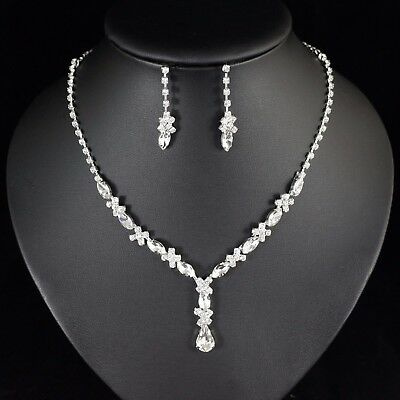 Floral Clear Austrian Rhinestone Necklace Earring Set Bridal Prom Pageant N78