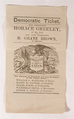 1872 Horace Greeley / B Gratz Brown Illustrated Presidential Campaign Ballot