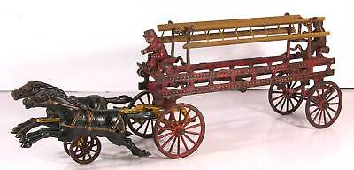 LARGE 1890s CAST IRON HORSE DRAWN FIRE ENGINE / LADDER TRUCK WAGON By HUBLEY