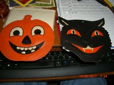 Halloween Die Cut Pumpkin & Black Cat By H E Luhrs