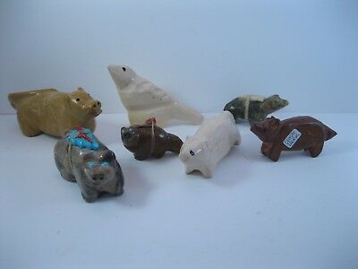 Lot 9 - Collection of 7 Leekya Family Carved Stone Animal Fetishes