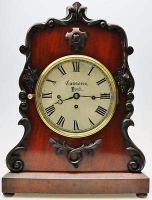 Antique C1850 English Regency Mahogany Triple Fusee Musical 8 Bell Bracket Clock