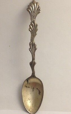 VICTORIAN GEORGE W SHIEBLER STERLING SPOON W/ TRIPLE LEAF PROTRUDING 082417fEZE