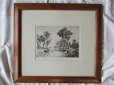 Lionel Lindsay Drypoint Etching Fossicker Presented to James Menzies