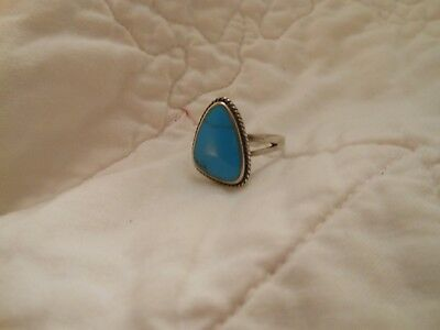 antique/vintage sterling silver robin egg blue turquoise ring....
