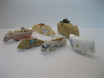 Lot 12 - Collection of 6 Zuni Kucate Family Carved Stone Animal Fetishes