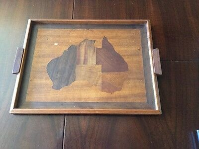 Retro Vintage Marquetry Wood Tray Map Australia Collectable Australiana Serving