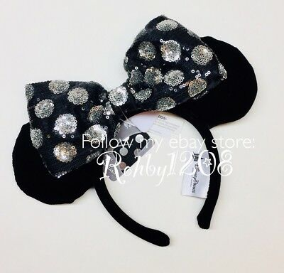 Disney Interchangeable Swap Your Bow Minnie Ears Headband Black Silver Sequins