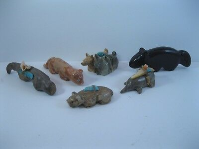 Lot 13 - Collection of 6 Zuni Carved Stone Animal Fetishes some Signed