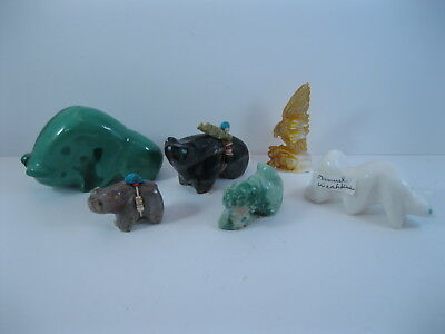 Lot 14 - Collection of 6 Zuni Carved Stone & Shell Animal Fetishes some Signed