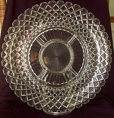 """Relish Platter Waterford Anchor Hocking 14"""" Six Part Glass Waffle Depression"""