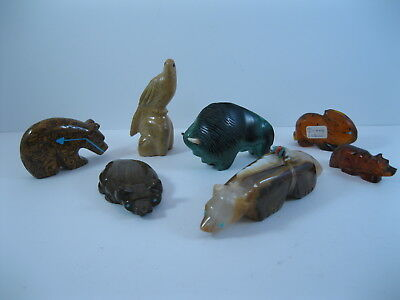 Lot 16 - Collection of 7 Zuni Carved Stone & Amber Animal Fetishes some Signed