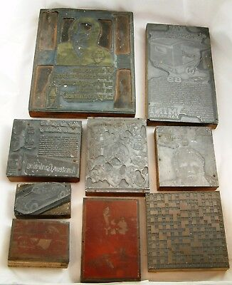 Selection Of 9 Various Vintage Wooden Printers Blocks