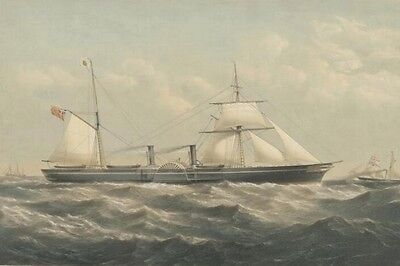 PACIFIC Paddle Steamer-Sail 1855 Painting Australia Modern Digital Art Postcard