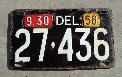 Delaware 1958 Porcelain  license plate #  27 - 436
