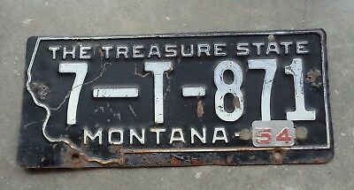 Montana 1953 / 54  license plate #  7 - T - 871