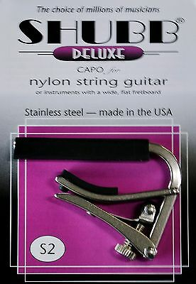 Shubb S2 Stainless Steel Capo For Nylon String Guitars - Made In Usa