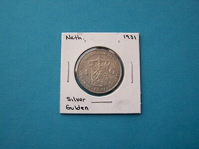 Netherlands Coins 1931 Year One Gulden Nice Silver Coin