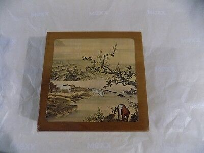 Vintage Western Horse Themed Coasters in Wood Box