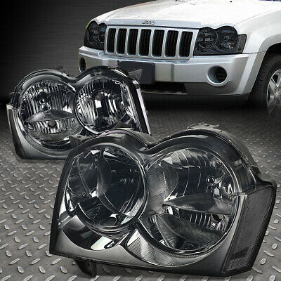 For 2005 2007 Jeep Grand Cherokee Smoked Housing Clear Corner Headlight Lamp Set