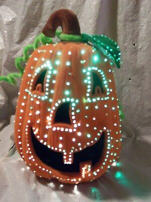 "In Box 2002 Avon Glowing Fiber Optic Pumpkin 10"" Light Up Halloween"