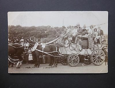 1912 Channel Islands KGV 1/2d Battle of Flowers Stage Coach Jersey RP Postcard