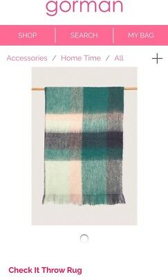 Gorman Check It Mohair Throw Rug Rrp $249 BNWT In Store Now. BARGAIN!