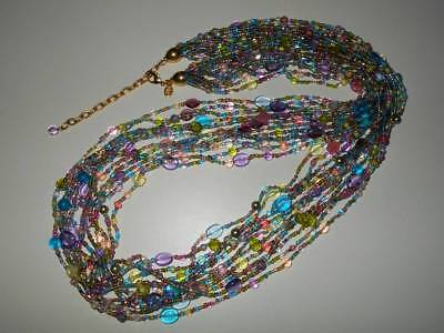 Vtg Joan Rivers Multi 12 Strand Pastel Shades Glass Bead Estate Torsade Necklace