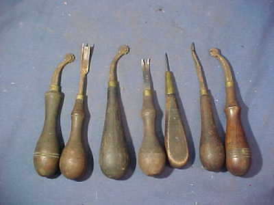 7-19thc Metal LEATHER WORKING Hand TOOLS w Wood Handles Lot 4