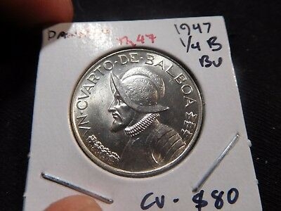 INV #Th47 Panama 1947 1/4 Balboa BU Catalog Value=$80