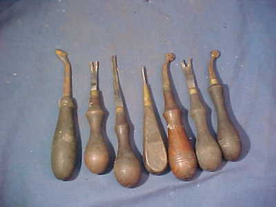 7-19thc Metal LEATHER WORKING Hand TOOLS w Wood Handles Lot 5