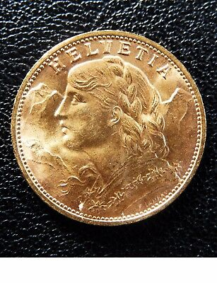 1909 SWISS GOLD BULLION 20F COIN BRILLIANT UNCIRCULATED .1867 oz GOLD