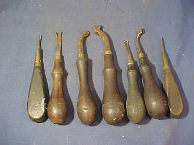 7-19thc Metal LEATHER WORKING Hand TOOLS w Wood Handles Lot 6