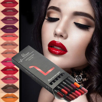 12pcs/set Women Sexy Lipstick Pen Pencil Matte Long Lasting Lip Gloss Non-stick
