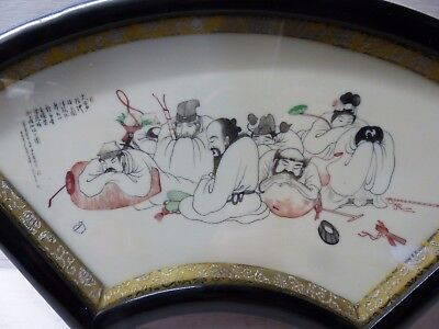 Very Beautiful Chinese Fan Shaped Painting - Various Character Marks - Rare