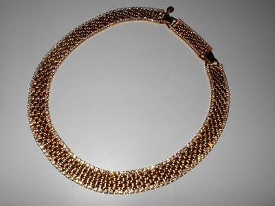 Vtg Kjl Kenneth Jay Lane Rhinestone Encrusted Gold Mesh Choker Collar Necklace
