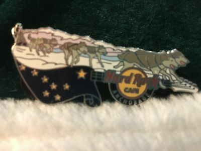 Hard Rock Cafe Pin Anchorage 3D Guitar Series Dog Sled w Alaskan Flag Above