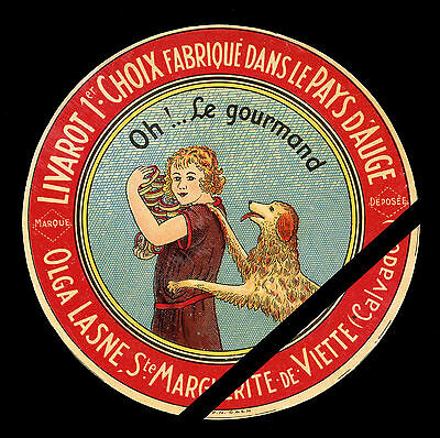 Rare Original Vintage French Cheese Label: Fromage  Le Gourmand Calvados