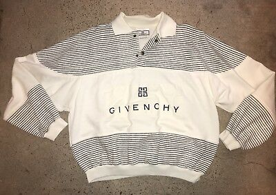 Vtg 90s GIVENCHY Stripe SweatShirt L Spell Out Polo Shirt 80s Mens Street Wear